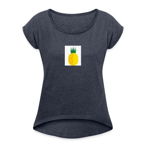 Pixel looking Pineapple - Women's Roll Cuff T-Shirt
