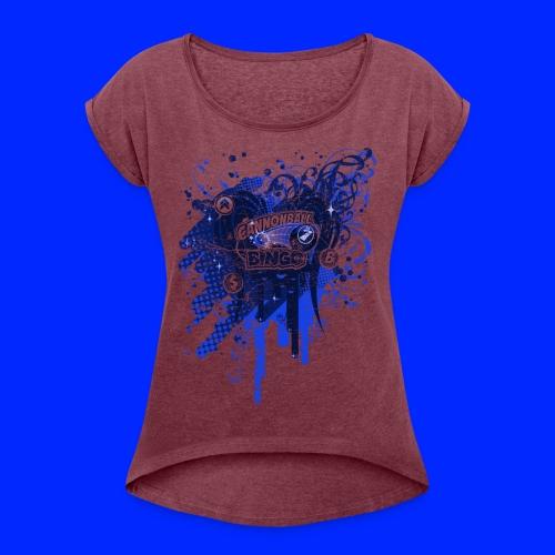 Vintage Cannonball Bingo Drip Blue - Women's Roll Cuff T-Shirt