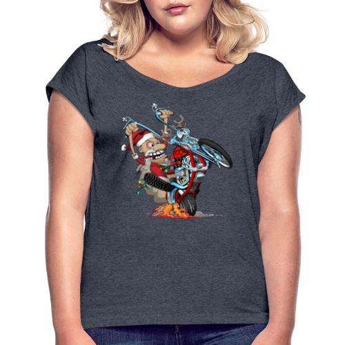 Biker Santa on a chopper cartoon illustration - Women's Roll Cuff T-Shirt
