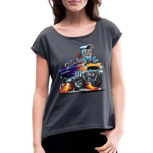 Classic Fifties Hot Rod Muscle Car Cartoon - Women's Roll Cuff T-Shirt