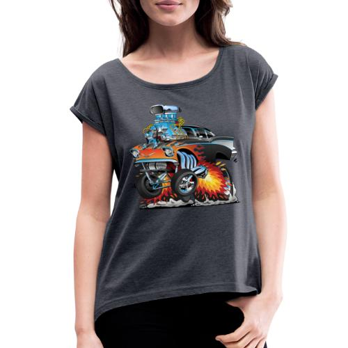 Classic hot rod 57 gasser dragster car cartoon - Women's Roll Cuff T-Shirt