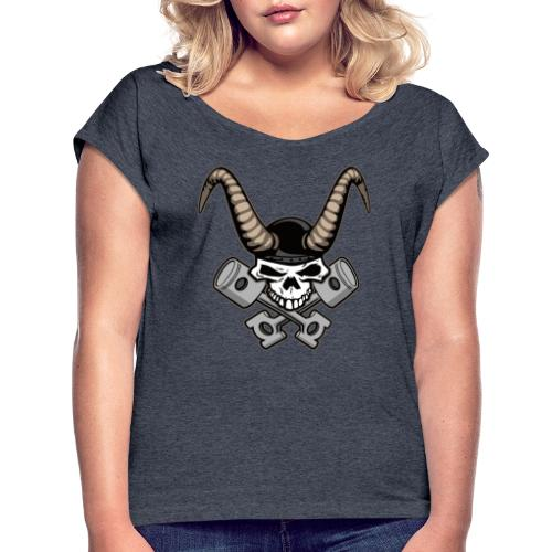 Skull with horns and crossed pistons illustration - Women's Roll Cuff T-Shirt