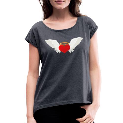 Winged heart - Angel wings - Guardian Angel - Women's Roll Cuff T-Shirt