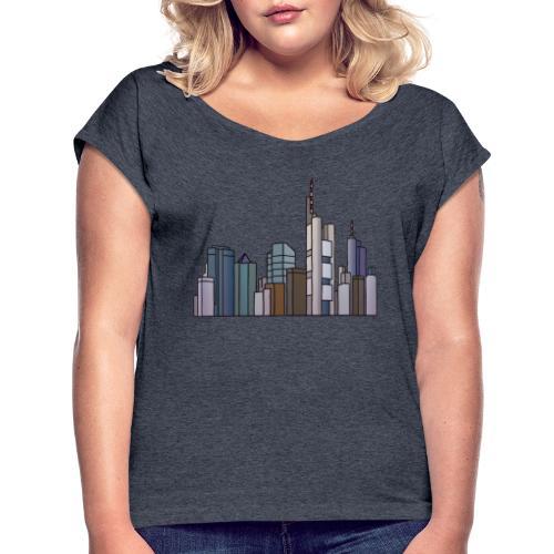 Frankfurt skyline - Women's Roll Cuff T-Shirt