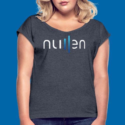 White + Blue Gradient Logo - Women's Roll Cuff T-Shirt