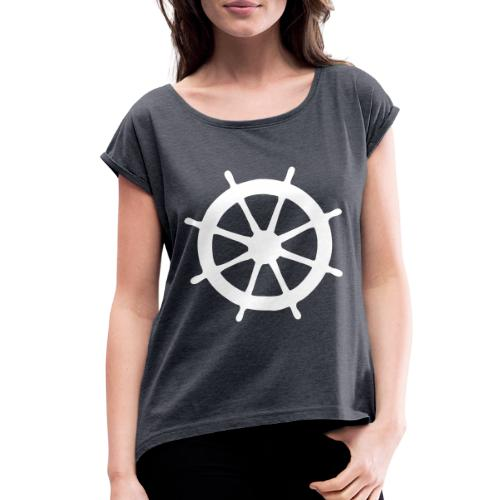 Steering Wheel Sailor Sailing Boating Yachting - Women's Roll Cuff T-Shirt