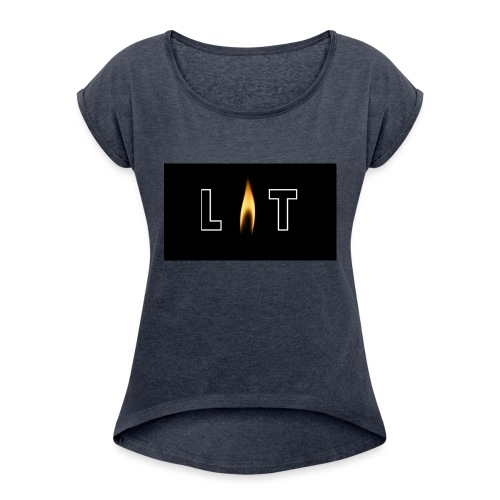 LIT LOGO DESIGN - Women's Roll Cuff T-Shirt