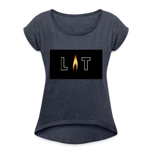 LIT LOGO DESIGN - Women's Roll Cuff T-Shirt