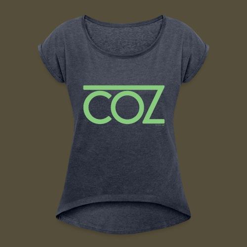 coz_logo_lightgreen - Women's Roll Cuff T-Shirt