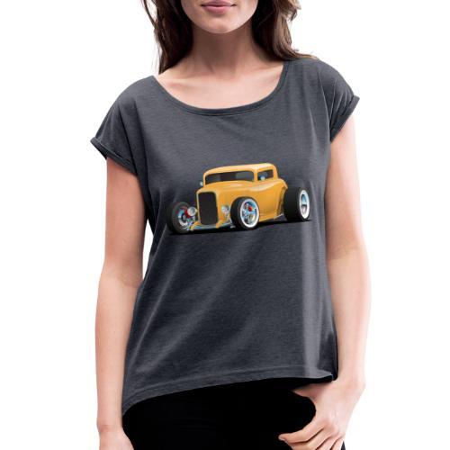 Classic American 32 Hotrod Car Illustration - Women's Roll Cuff T-Shirt