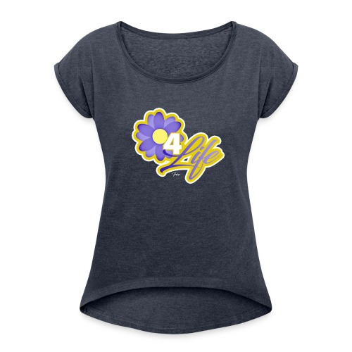 purp flowersss - Women's Roll Cuff T-Shirt