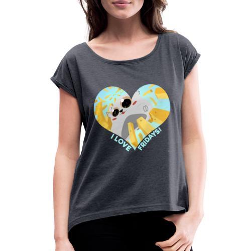 I Love Fridays! Tote Bag - Women's Roll Cuff T-Shirt