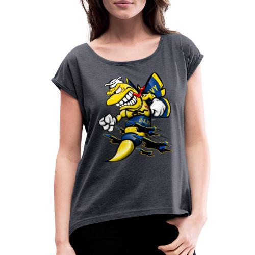 Cartoon Blue Angels F/A-18 Hornet - Women's Roll Cuff T-Shirt