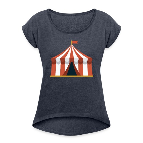Striped Circus Tent - Women's Roll Cuff T-Shirt