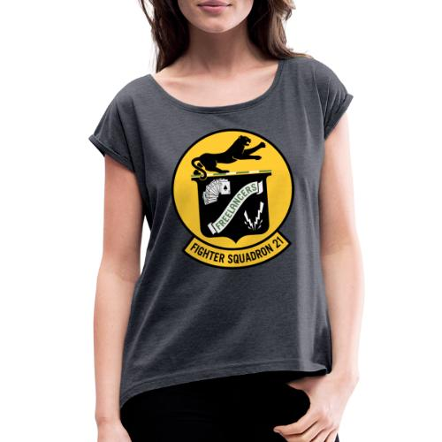 Fighter Squadron Twenty One VF-21 - Women's Roll Cuff T-Shirt