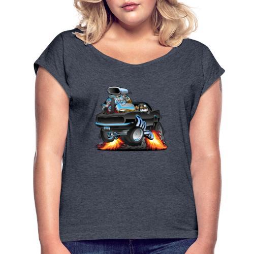 Classic Sixties American Muscle Car Cartoon - Women's Roll Cuff T-Shirt