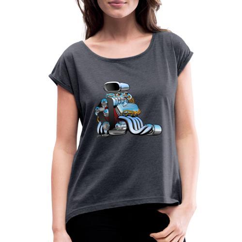 Hot rod race car engine cartoon - Women's Roll Cuff T-Shirt