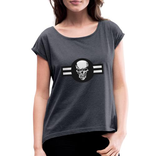 Military aircraft roundel emblem with skull - Women's Roll Cuff T-Shirt