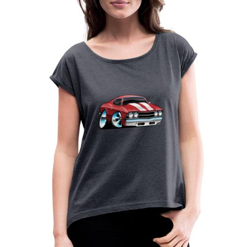 Classic American Muscle Car Cartoon - Women's Roll Cuff T-Shirt