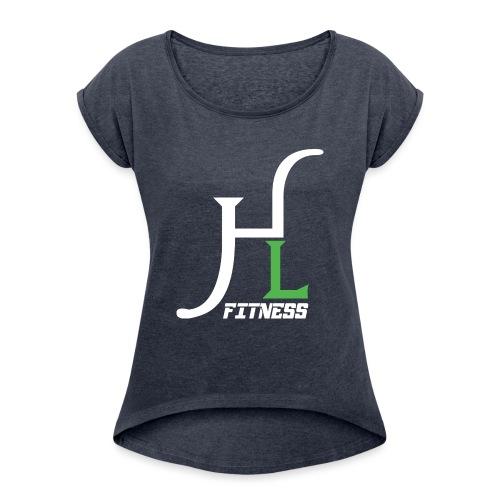 HIIT Life Fitness Logo White - Women's Roll Cuff T-Shirt