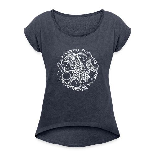 fishy white - Women's Roll Cuff T-Shirt