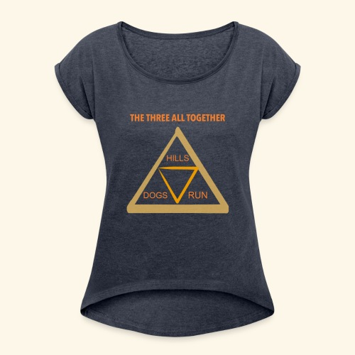 Run4Dogs Triangle - Women's Roll Cuff T-Shirt