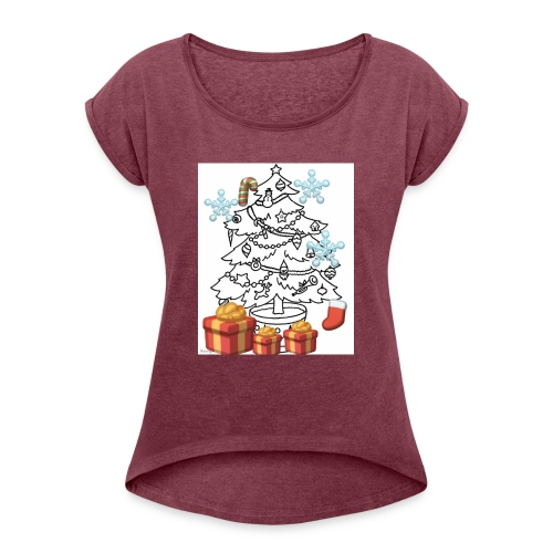 Christmas is here!! - Women's Roll Cuff T-Shirt