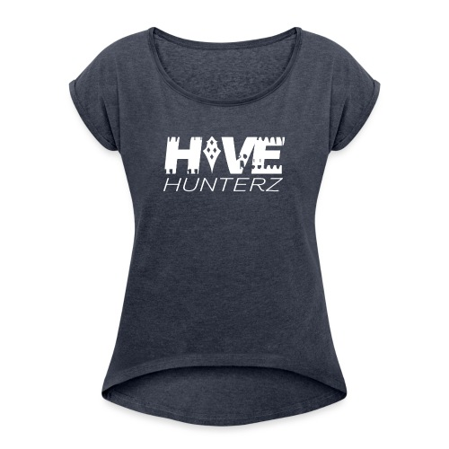 White Hive Hunterz Logo - Women's Roll Cuff T-Shirt