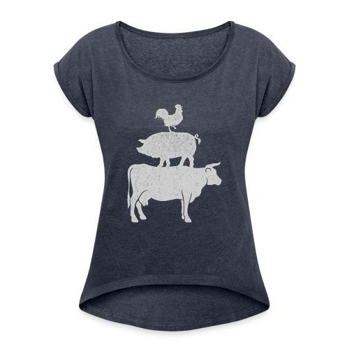Pyramid Print2 - Women's Roll Cuff T-Shirt