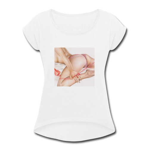 On da phone - Women's Roll Cuff T-Shirt