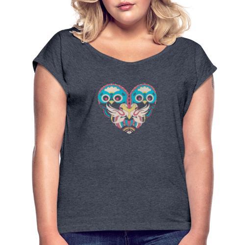 Cool Couple Heart Design Artistic Shirt - Women's Roll Cuff T-Shirt