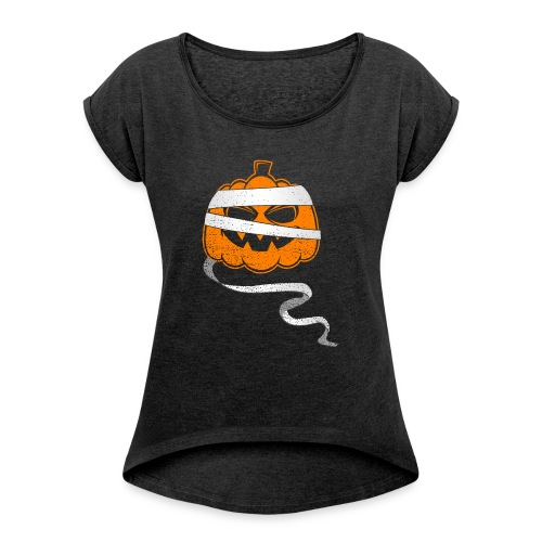 Halloween Bandaged Pumpkin - Women's Roll Cuff T-Shirt