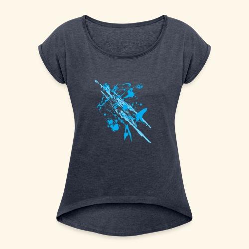 Blue Splash - Women's Roll Cuff T-Shirt