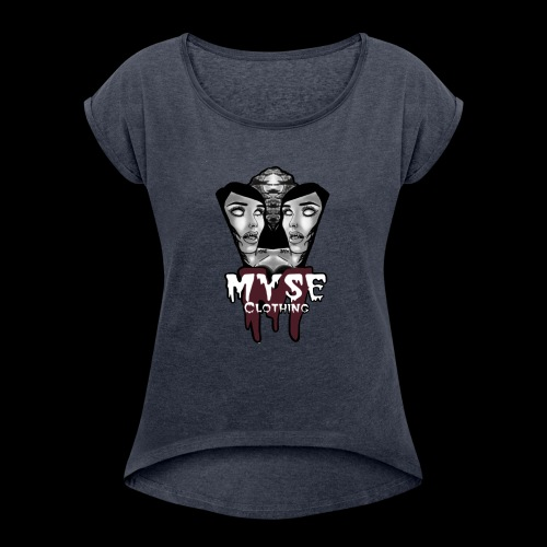 Myse clothing logo with vampire - Women's Roll Cuff T-Shirt
