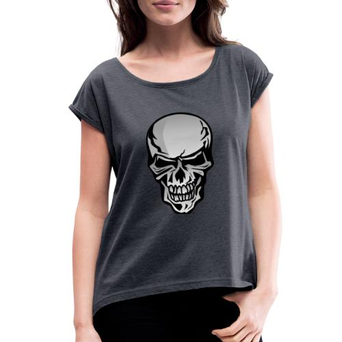 Chrome Skull Illustration - Women's Roll Cuff T-Shirt