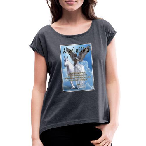 Angel of God, My guardian Dear (version with sky) - Women's Roll Cuff T-Shirt