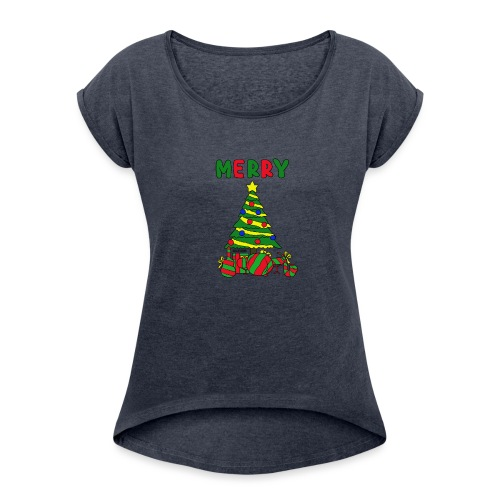 merry christmas tree instruments - Women's Roll Cuff T-Shirt