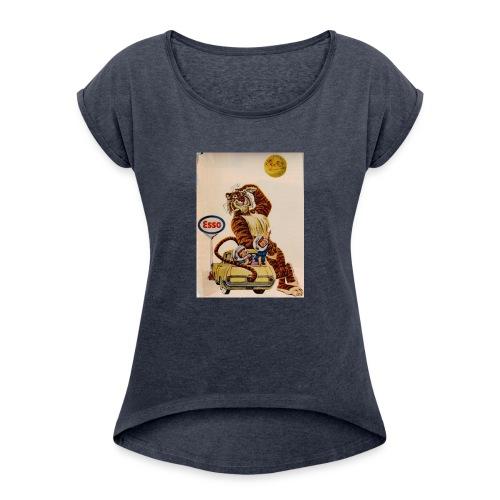 48d538beb72153486dfd2e84c5050151 stuffed tiger ol - Women's Roll Cuff T-Shirt