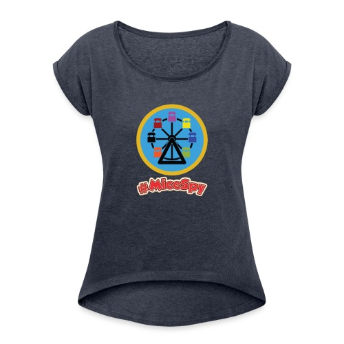 Mickeys Fun Wheel Explorer Badge - Women's Roll Cuff T-Shirt