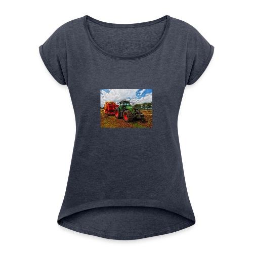 Tractor on a farm! - Women's Roll Cuff T-Shirt