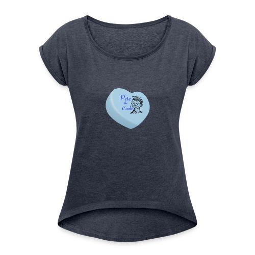Pete the Cooler Candy Heart - blue - Women's Roll Cuff T-Shirt