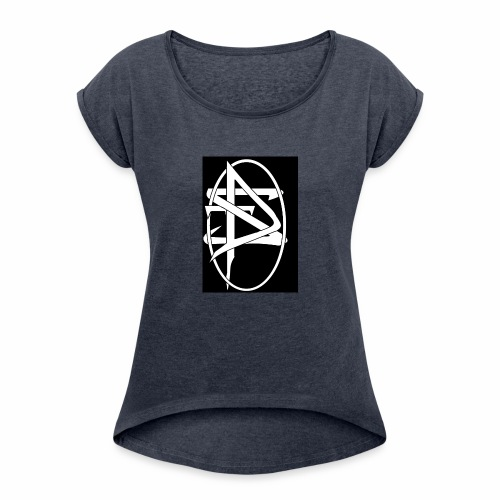 DTS Society w circle white - Women's Roll Cuff T-Shirt
