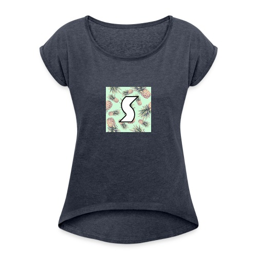 Scorch Pineapple Logo Design - Women's Roll Cuff T-Shirt