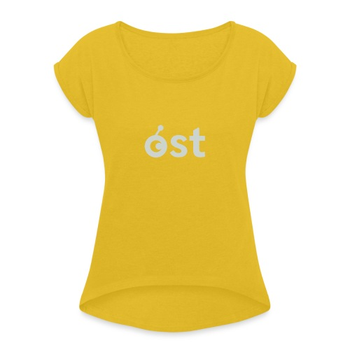 ost logo in grey - Women's Roll Cuff T-Shirt