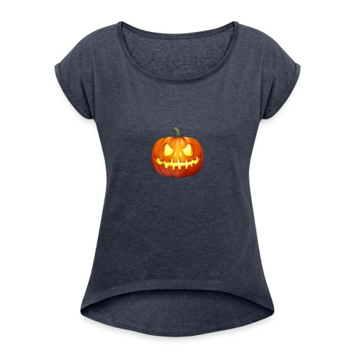 halloween-pumpkin - Women's Roll Cuff T-Shirt