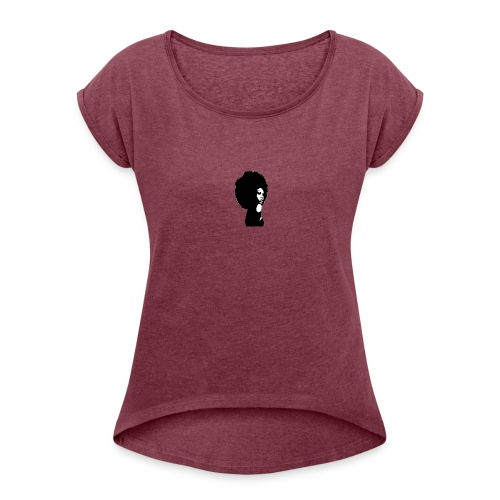 black women afro - Women's Roll Cuff T-Shirt