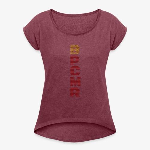 Vertical BPCMR Binary Logo - Women's Roll Cuff T-Shirt