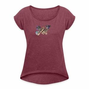drum shapes - Women's Roll Cuff T-Shirt
