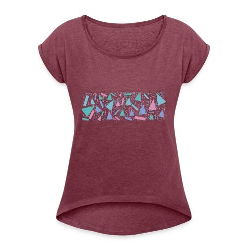 90s Pattern - Women's Roll Cuff T-Shirt