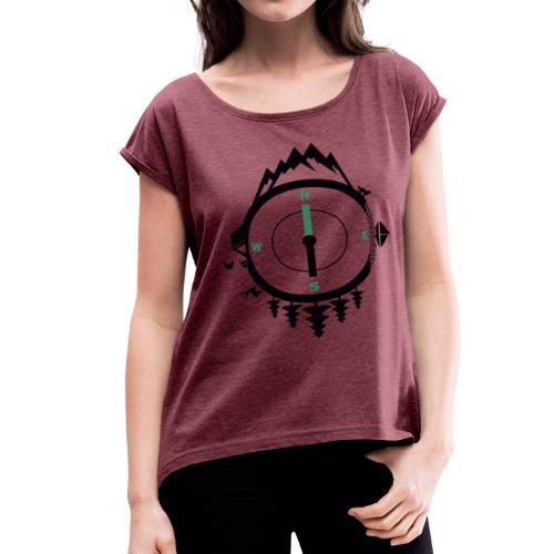 compass travel - Women's Roll Cuff T-Shirt